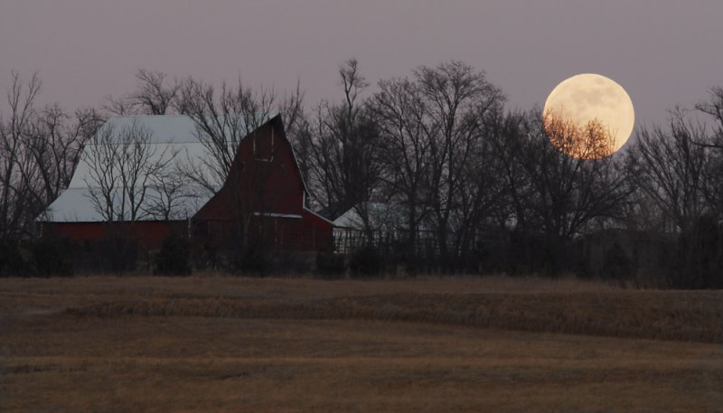 Wolf Moon with Barn