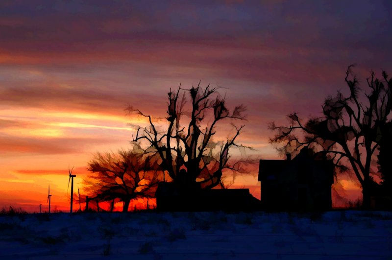 Sunset near Bluegrass Ridge Wind Farm