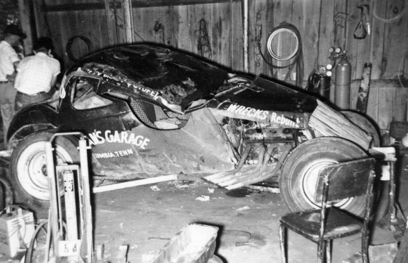 1958 Fairgrounds Malcolm Brady after crash.
