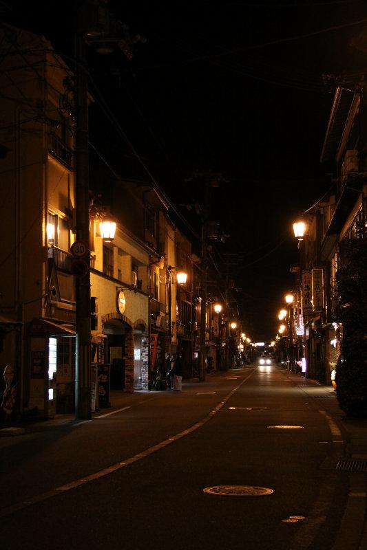 Empty main street of Kinosaki by night