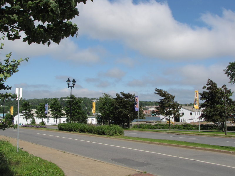 Long view of banners on Alderney Drive