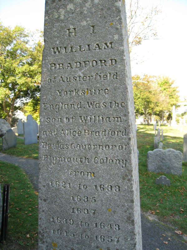 Obelisk for Gov. William Bradford - Burial Hill Cemetery - Plymouth, Mass.