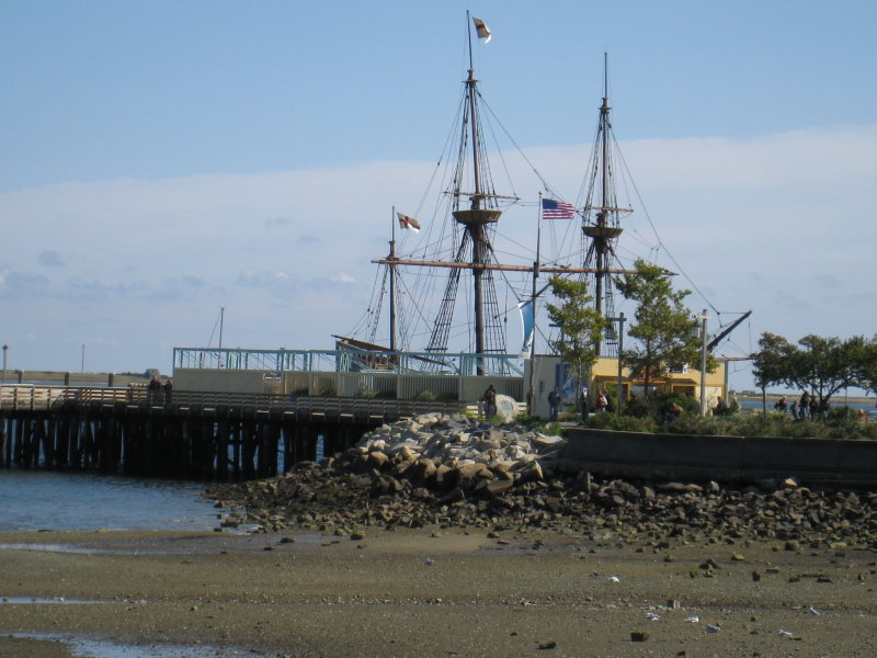 View of Mayflower Reproduction  at Plymouth Harbor - Plymouth, Mass.