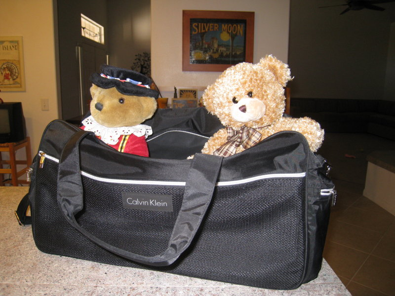 Im all packed up to go home.  I have 2 new friends - Teddy and a Beefeater, who will protect me, I hope.