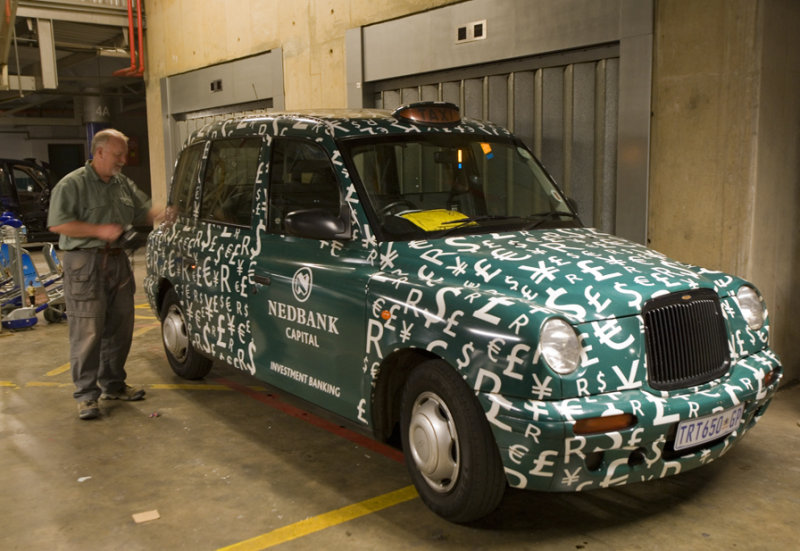 Dave inspecting the Taxi