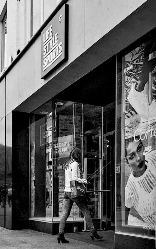woman and window display