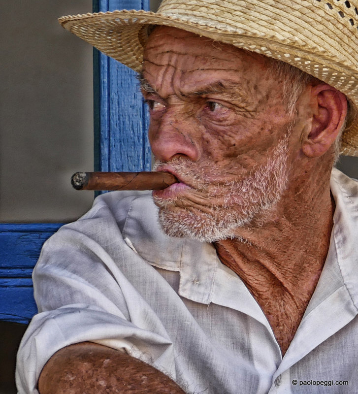 Old Man Smoking Cigar, Cuba
