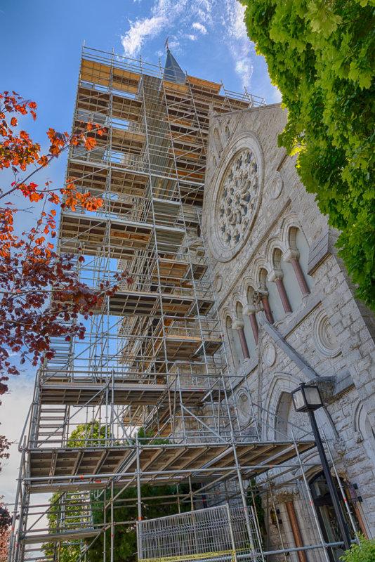 Scaffolding around steeple of St. Michael the Archangel Roman Catholic Church