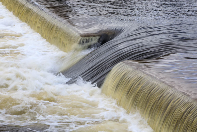 Water flowing over the Corbyville Dam