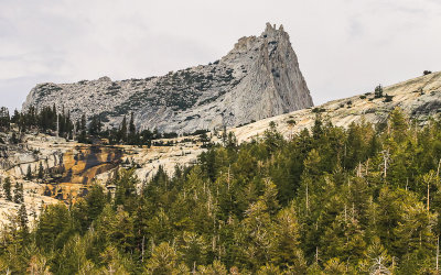Cathedral Peak close-up from along the Tioga Road in Yosemite National Park