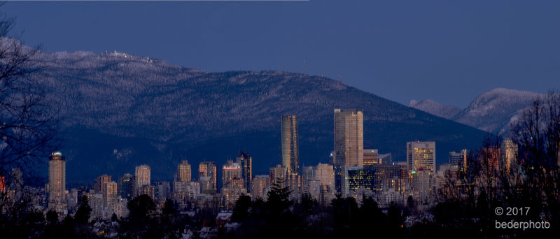 vancouver after winter sunset