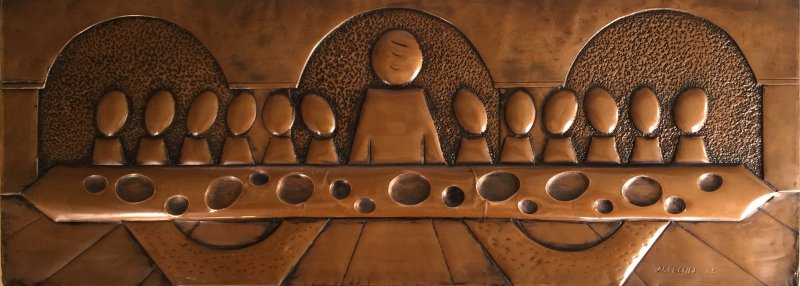 Last Supper abstract, copper 73x28cm