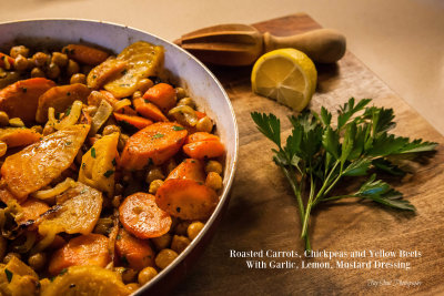 Roasted Carrot, Chickpea and Golden Beet Salad