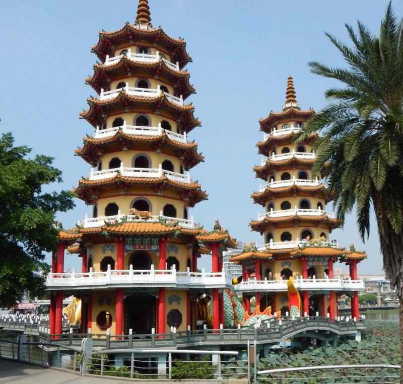 Dragon and Tiger Pagodas. Lotus Lake