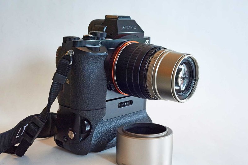 with Sony a7 + vertical grip