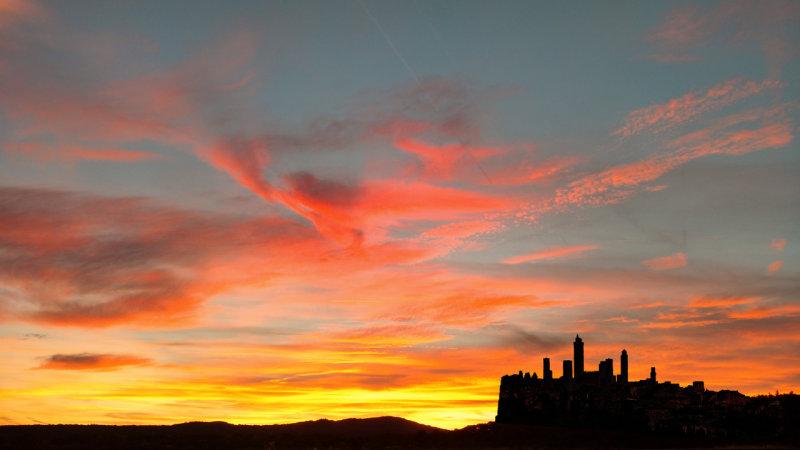 San Gimignano By Sunset