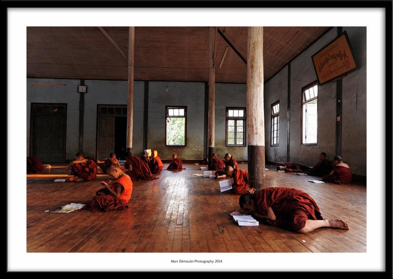 Young monks classroom, Mandalay, Myanmar 2014