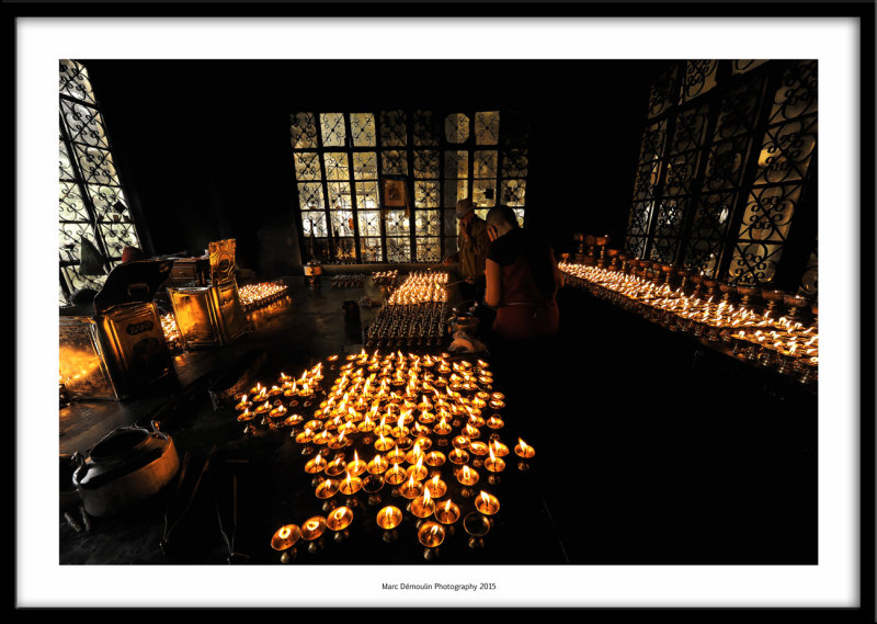 Candles room in the Tsuglagkhang temple, Dharamsala, India 2015