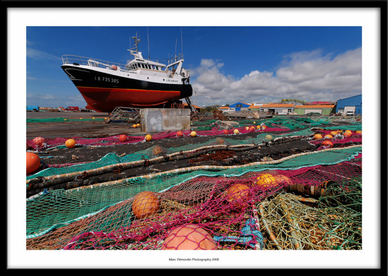 Fishing boat and nets, La Cotiniere, France 2008