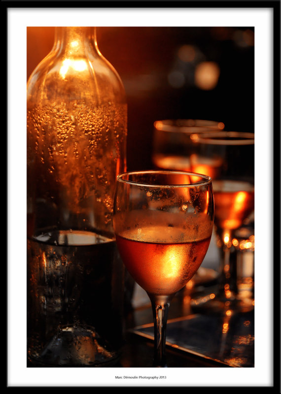Rose wine at sunset, Ajaccio, France 2013