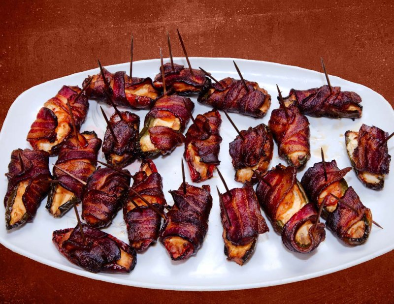 Smoked, Bacon wrapped Shrimp Jalapeno Poppers