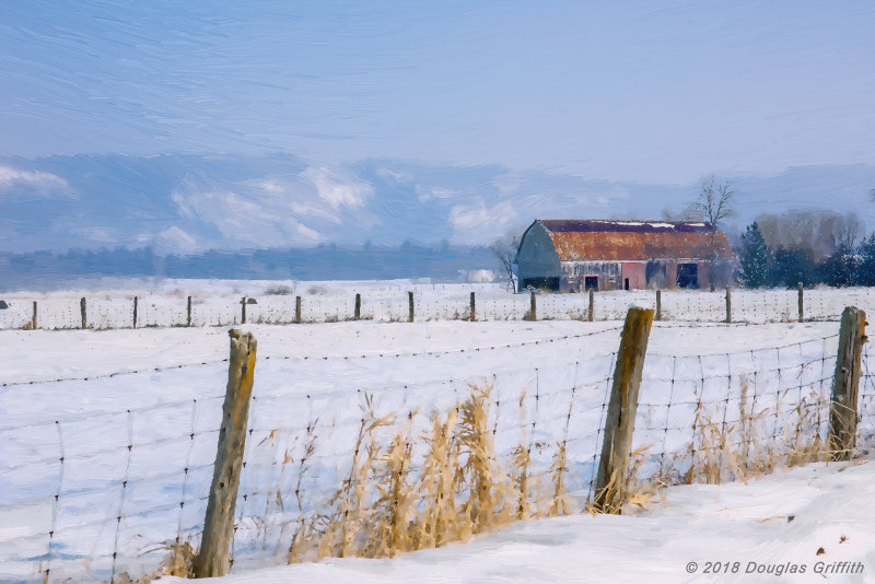 Photo of an Original Oil of a Luskville Area Barn with Gatineau Hills in Background