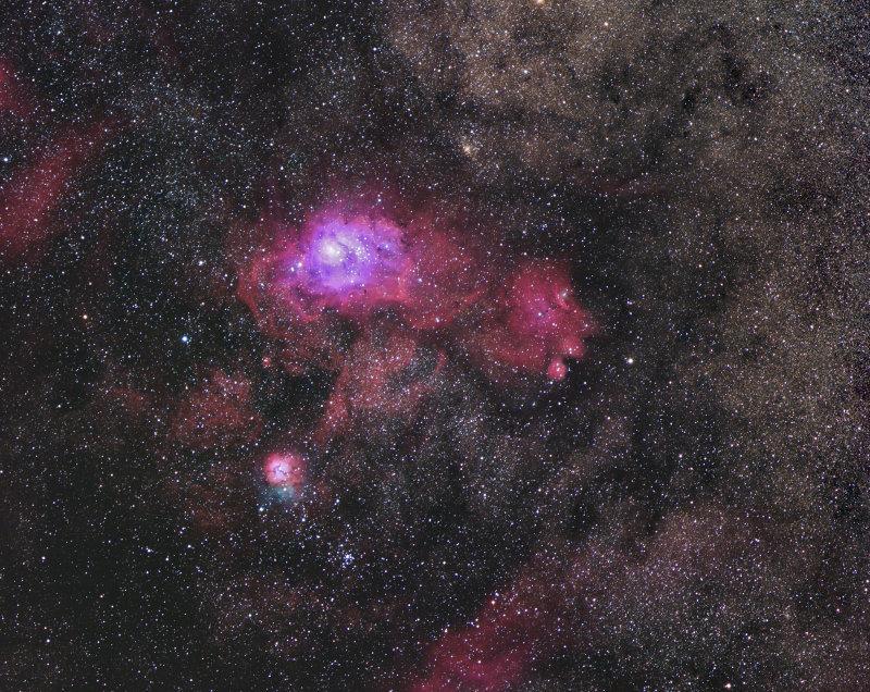 The Lagoon and Trifid Nebulas widefield