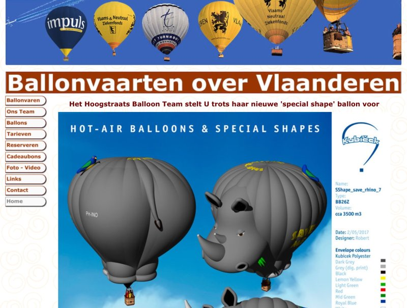 ScreenShot WebSite www.balloninfo.be