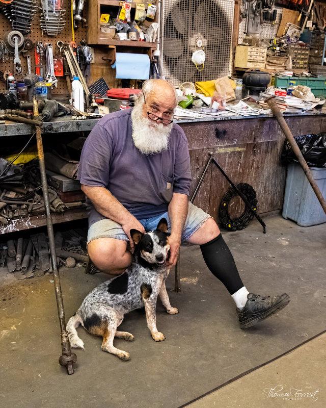 Eric Gator Gould and the shop dog Congo