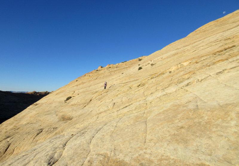 Slickrock climb to dome summit
