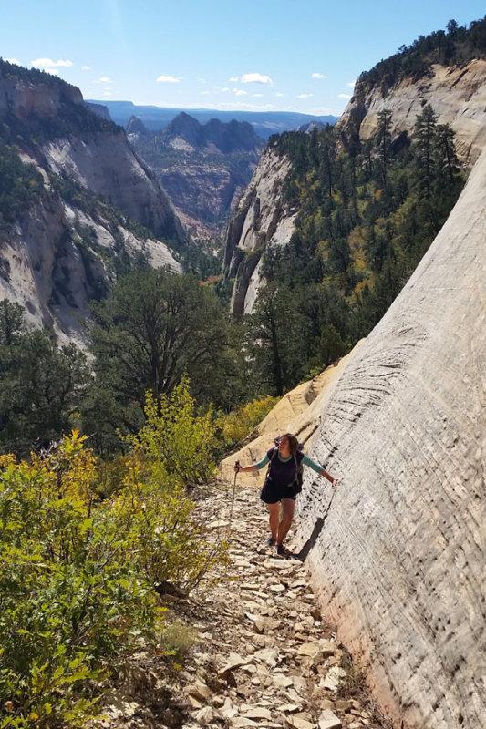 Zion- Near the top of the bushy canyon- a superb scrambling route