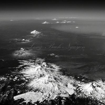Mt Bachelor, Three Sisters, Mt Jefferson, Mt Hood, Mt Adams, Mt Rainier, Mt St Helens, Glacier Peak, Mt Baker 399