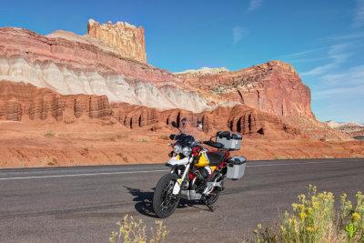 Moto Guzzi Motorcycle Ride thru Capitol Reef National Park
