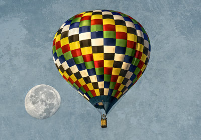 Hot Air Balloon and Full Moon