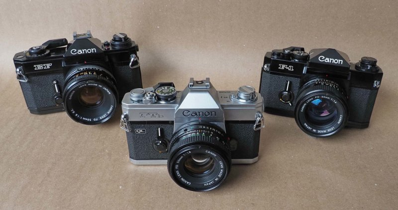 from the left, Canon EF (1973), Canon FTbn (1971) and Canon F1 (1971).