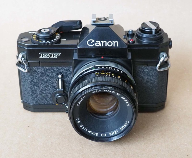 The Canon EF (1973), superbe camera, automatic with Speed Priority.
