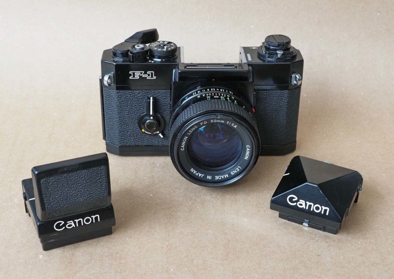 Canon F1; it has interchangeable screens and viewfinders; a large number of accessories was available for this camera.