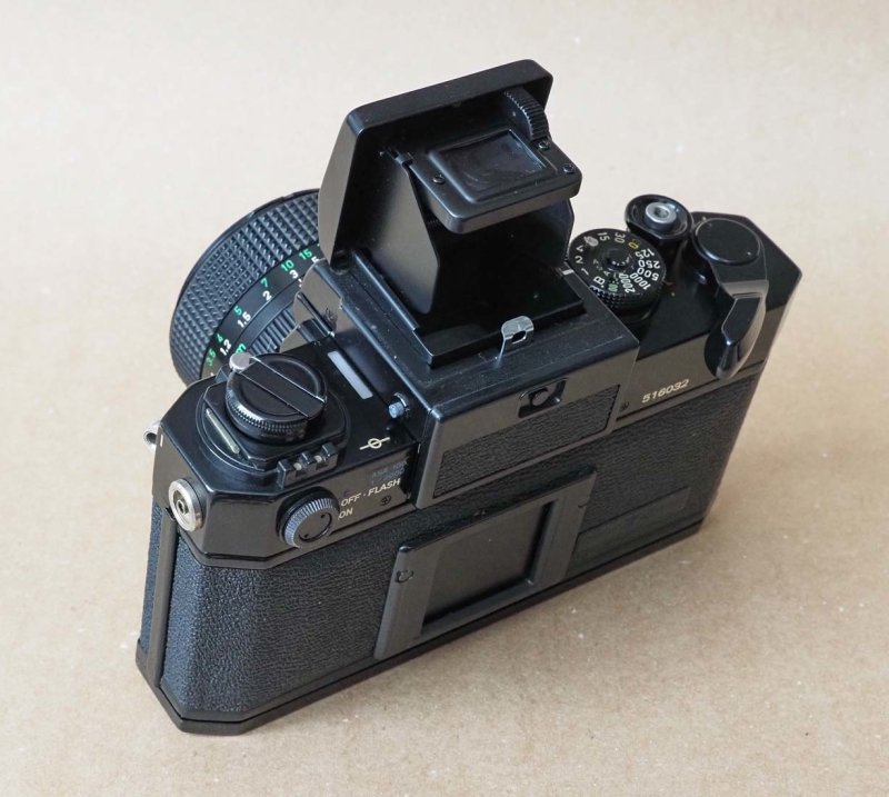 The original Canon F1 (1971); with the waist level view accessory.