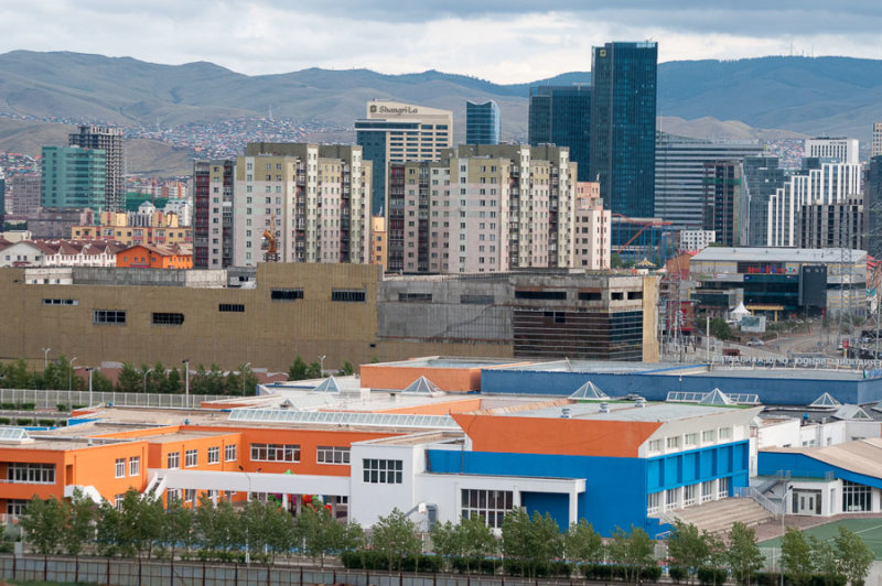 Looking north across the International School of Ulaanbaatar to the city centre