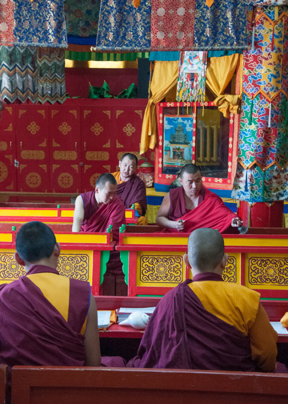 Buddhist monks at prayer in Gandan Khiid, Ulaanbaatar, Mongolia