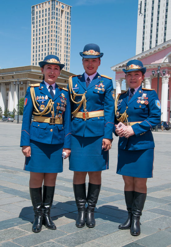 Fire and emergency services officers wear dress uniform for an event in Sukhbaatar Square,
