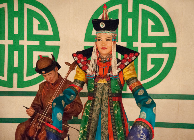Costumed performer at Tumen Ekh, the National Song and Dance Ensemble