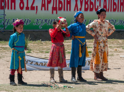 Young spectators at the archery practice rounds, Ulaanbaatar, Mongolia