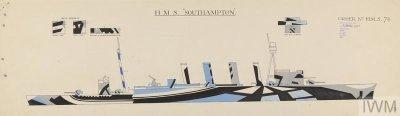 Dazzle design by Jan Gordon for HMS Southampton [Starboard]. IWM.
