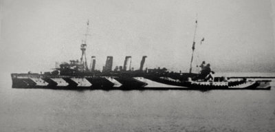 1918 photograph of HMS Southampton in dazzle scheme, authors collection
