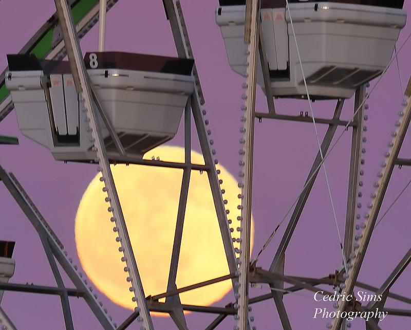 Old Sacramento Ferris Wheel and Full Moon