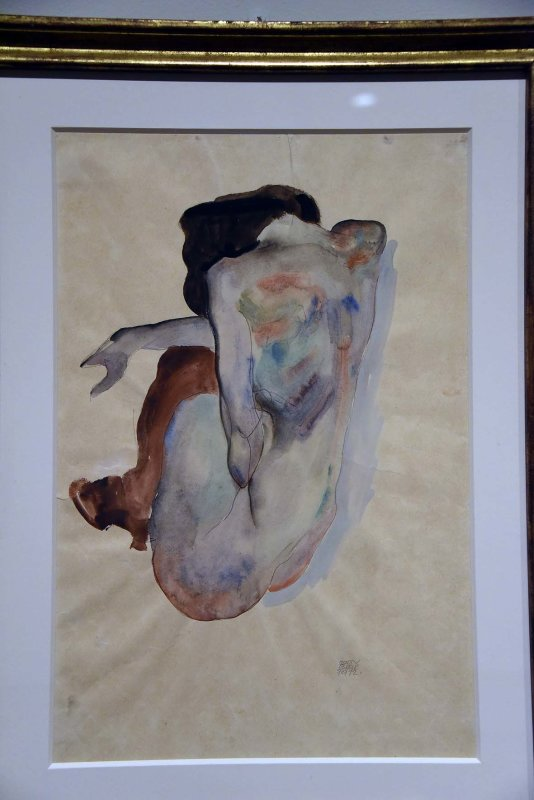 Crouching Nude in Shoes and Black Stockings, Back View (1912) - Egon Schiele - 3041