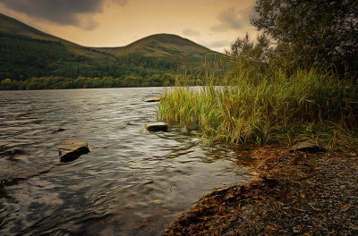 A lakeside view in the Lake District National Park, Buttermere, Cumbria, UK