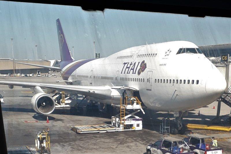 The B747 that will fly me to Bali. Suvarnabhumi Airport Bangkok