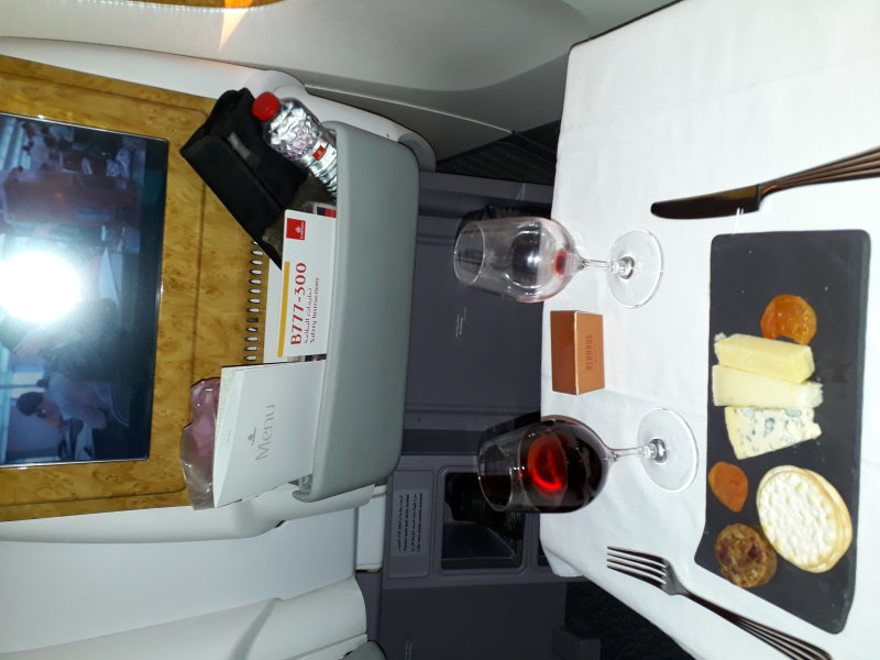 Cheese and port. B777 Oslo-Dubai